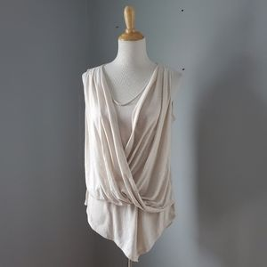 WHBM Cream Draped Sleeveless Top Size Medium